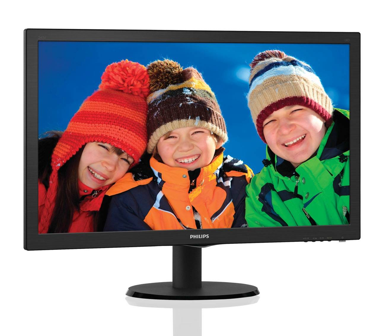 "МОНИТОР 23.6"" PHILIPS 243V5LHAB/00(01) Black (LED, 1920x1080, 1 ms, 170°/160°, 250 cd/m, 10M:1, +DVI, +HDMI, +MM)"