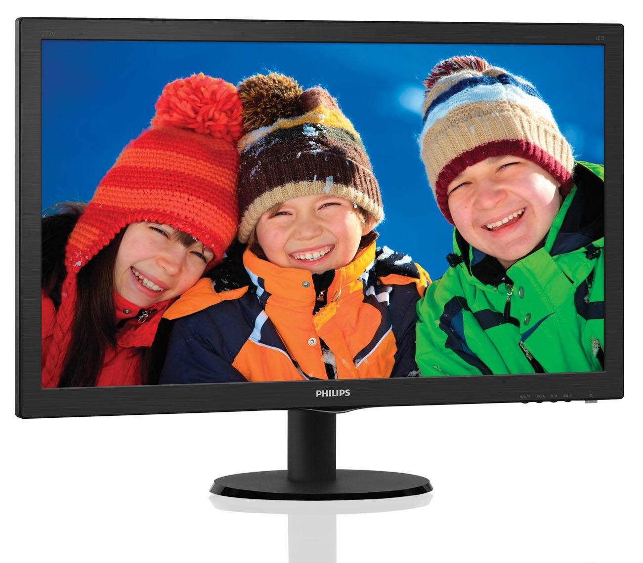 "МОНИТОР 27"" PHILIPS 273V5LHAB/00(01) Black (1920x1080, 1 ms, 170°/160°, 300 cd/m, 10M:1, +DVI, +HDMI, +MM)"