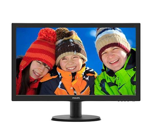 "МОНИТОР 23.6"" PHILIPS 243V5QSBA/00(01) Black (MVA, 1920x1080, 8 ms, 178°/178°, 250 cd/m, 10M:1, +DVI)"